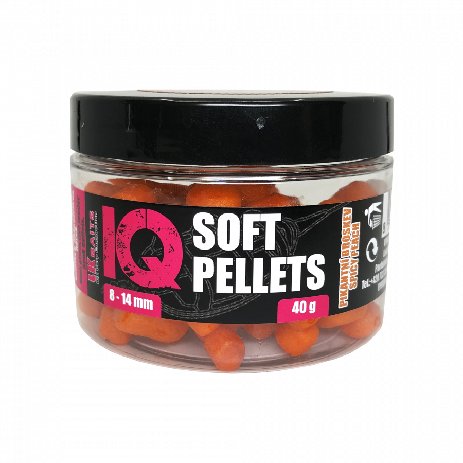 LK Baits IQ Method Feeder Soft Pellets Spicy Peach 8 - 14mm 40g