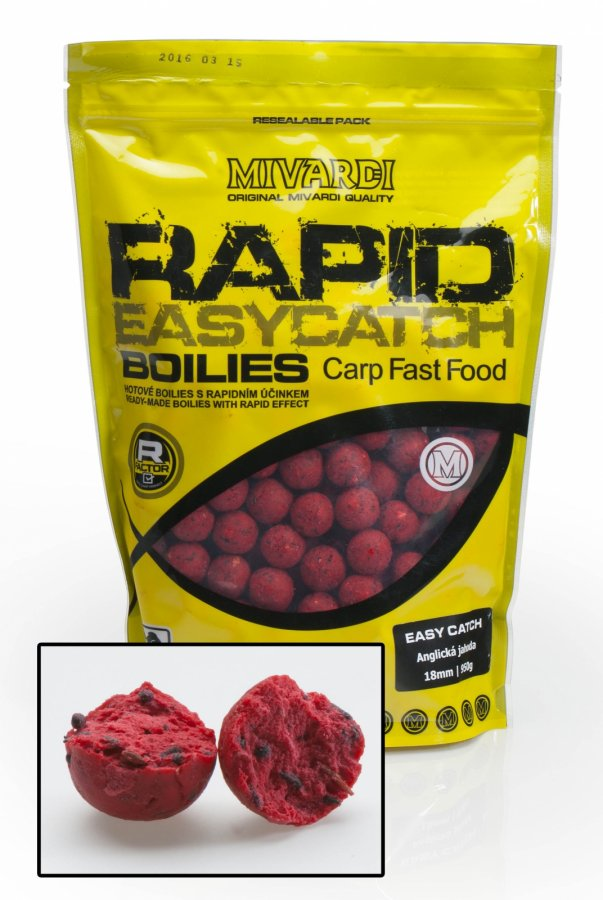 Mivardi boilies Rapid Easy Catch - Anglická Jahoda 950g 24mm