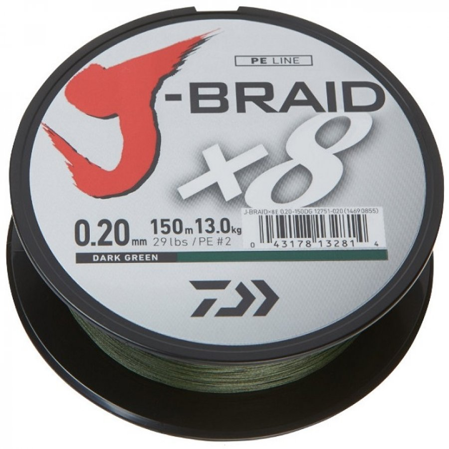 Daiwa pletená šňůra J-Braid X8 150m 0,18mm 12,0kg Dark Green