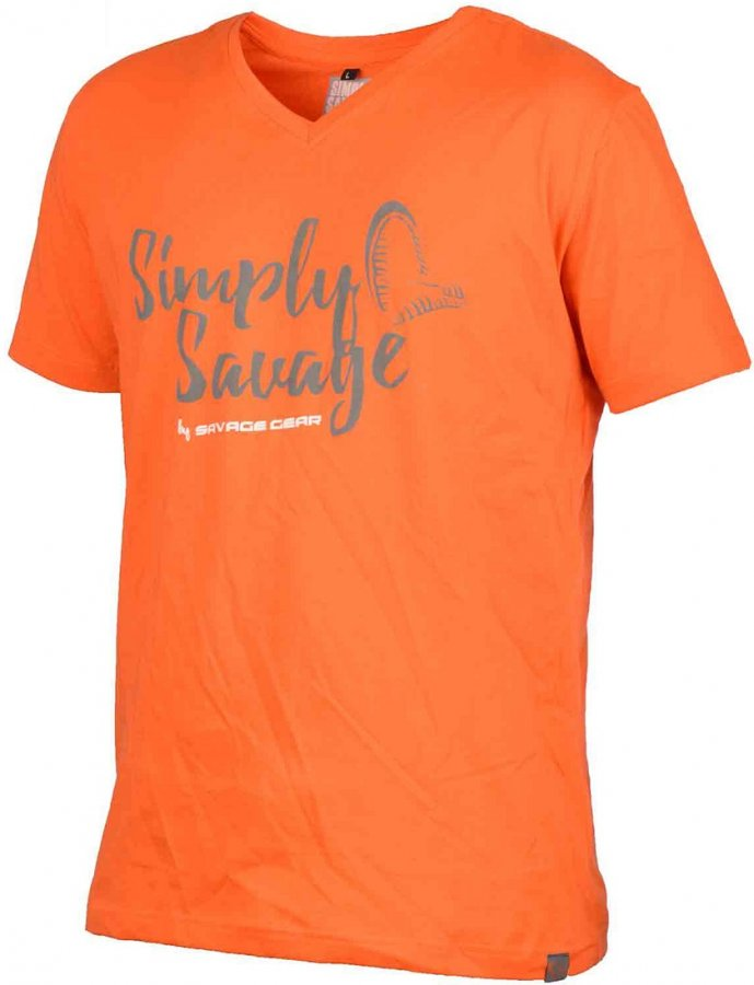 Savage Gear triko Simply Savage V-Neck Tee oranžové  M