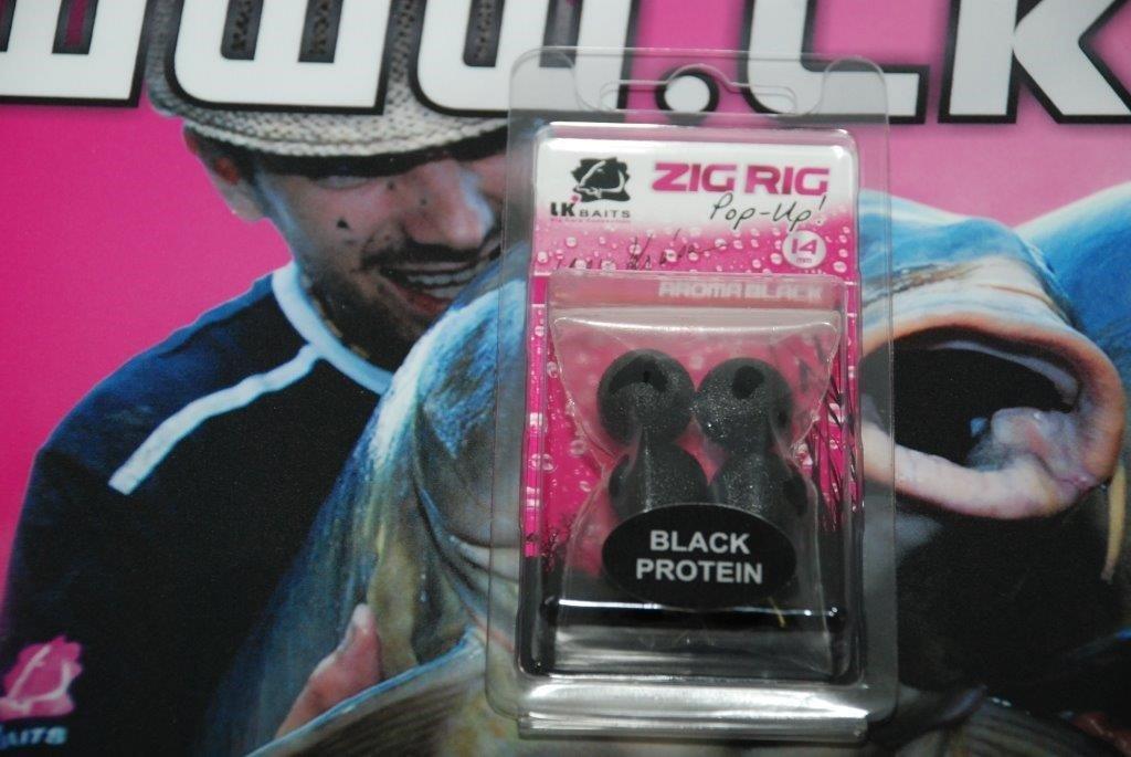 LK Baits ZIG RIG Pop–Up 14 mm – Black Protein