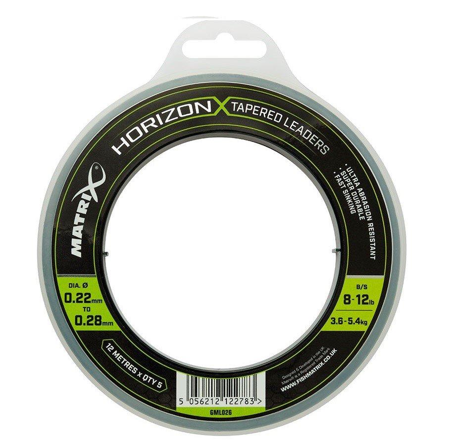 Fox Matrix šokový vlasec Horizon X Tapered Leaders 12m x 5 0,22-0,28mm 8-12lb