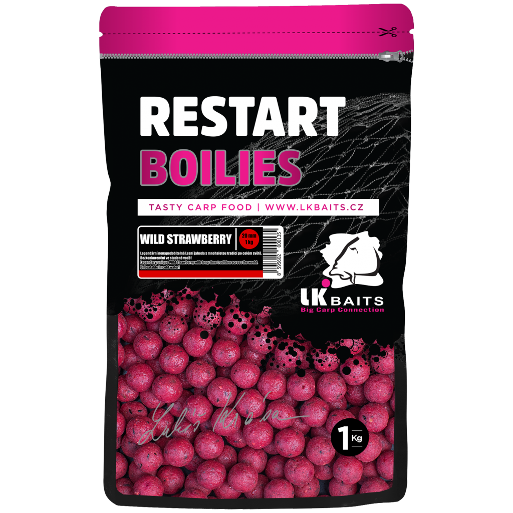 LK Baits ReStart Boilies Wild Strawberry 18 mm, 250g