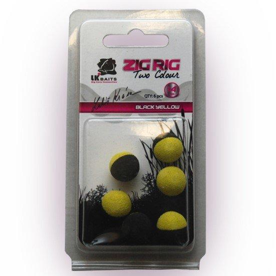LK Baits ZIG RIG Pop–Up 14 mm – Black/Yellow