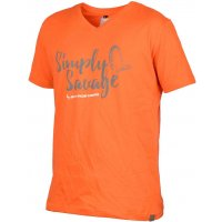 Savage Gear triko Simply Savage V-Neck Tee oranžové